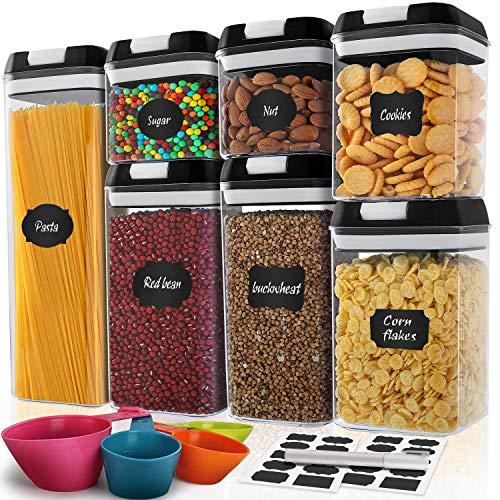 De recipientes herméticos para almacenamiento de alimentos Juego de 7 piezas, sin BPA, MCIRCO recipientes de cocina y despensa, Etiquetas de Pizarra, Marcador y herramientas de medición Gratis