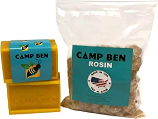 CAMP BEN DIY Beeswax Half Pack - 8 oz Beeswax & 8 oz Pine Rosin - How to Make Your Own Fun Food Safe Organic Wraps - Get Rid of Plastic Wrapping - Do It Yourself Snack Sandwich Wrappers - USA Made