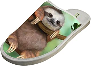 Sloth Hanging on Tree Unisex Adult Cotton House Slippers Keep Warm House Lover 8 B(M) US