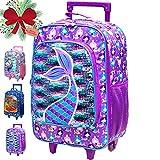 Kids Suitcase, Girls Rolling Luggage with Wheels - Mermaid