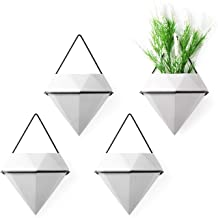 T4U Diamond Wall Planter Indoor, Set of 4 Geometric Wall Mounted Plant Holder Vase, Ceramic Succulent Air Plant Flower Pot...