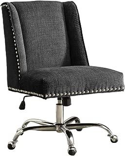 Linon Clayton Charcoal Office Chair, Metallic