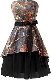 Camo Tulle Short Prom Dresses Strapless Knee Length Bridesmaid Dresses