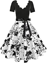 Prom Dresses for Women,Women Short Sleeve Fashion Print Vintage Flare Dress