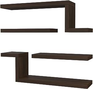 VE.CA-Italy - 4 x Estanterías de diseño fabricadas con madera de gran calidad - Producto fabricado en Italia - 9 colores diferentes disponibles; 4 cm de grosor