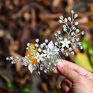 Asooll Bride Wedding Hair Combs Flowers Pearl Bridal Hair Piece Accessories with Crystals for Women and Girls (Silver)