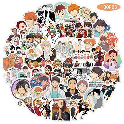 chengdushiErica Christy 100 Stück Haikyuu !! Aufkleber Anime Doodle Aufkleber Travel Trolley Aufkleber PVC Wasserdicht Auto Aufkleber Doodle Aufkleber