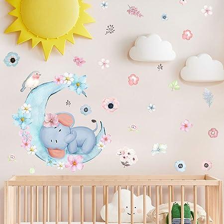 BDECOLL Éléphants Bubbles Stickers Nursery decoration,sticker mural enfant garcon,decoration chambre bebe (blanc)