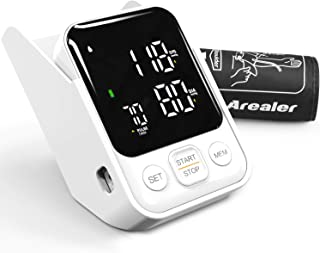Tensiómetro de Brazo, Arealer Monitor de Presión Arterial Digital Automatico con Gran Pantalla, 2 Memorias 2 * 120, para Uso Doméstico, Deteccion de Irregular Arritmia