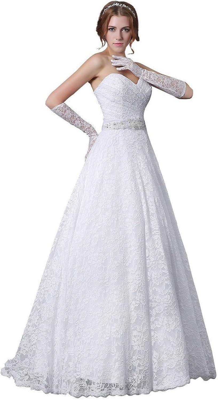 BessWedding Sweetheart Long Bridal Dress Lace Wedding Dresses with Beaded Belt