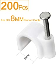 Cable Clips 8mm 200pcs White,SHD Cable Tacks Nail In Clamps Cable Straps Wire Staples Round Cord Management for RG6 RG59 Ethernet Cables