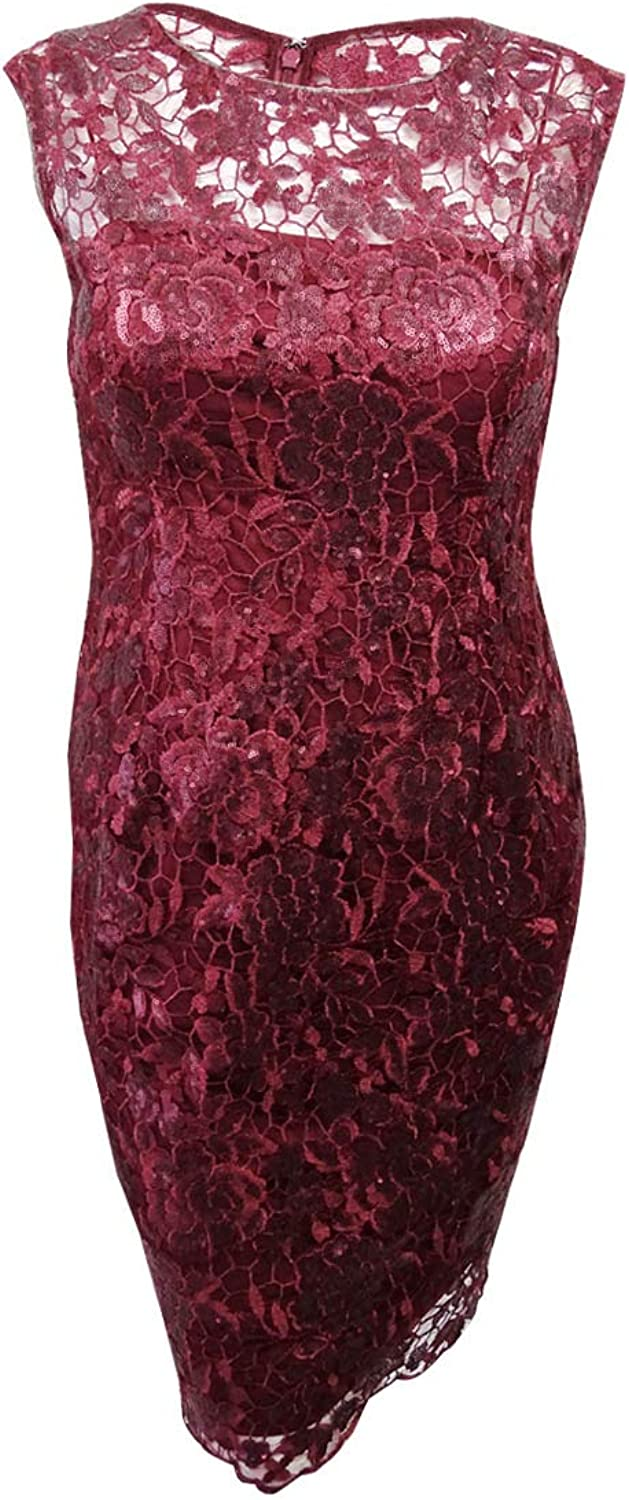 Adrianna Papell Womens Floral Sequin Embroidered Sheath Dress