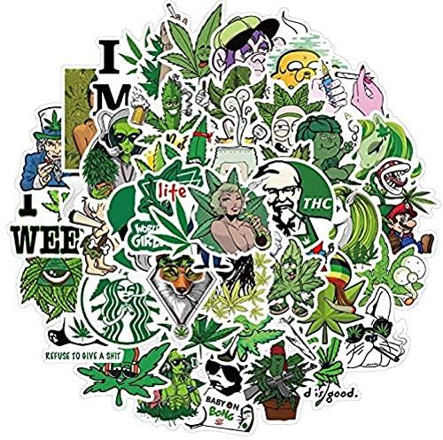 JZLMF 50 hojas de cáñamo pegatinas impermeables para maletas, portátiles, maletas, coches, monopatines, decoración, graffiti