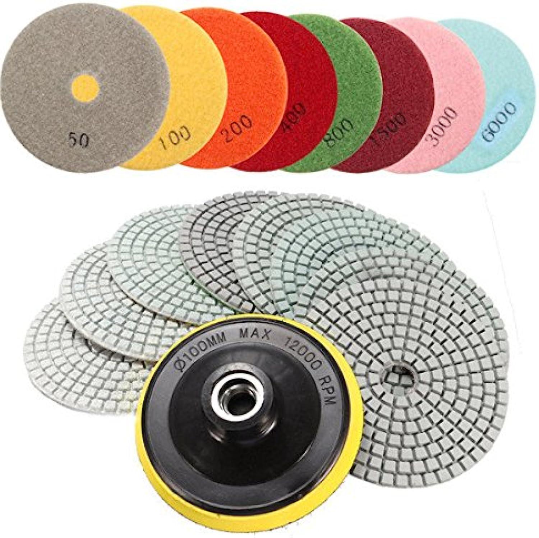 Power Tool Parts Abrasive Tools  9pcs 4 Inch 50 to 6000 Grit Polishing Pads for Granite Marble Polish  1 x M14 SelfAdhesive pad, 8 x Polishing Pads