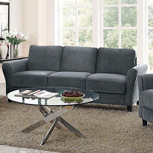 Pearington Coffeen Microfiber Living Room Sofa, Dark Grey