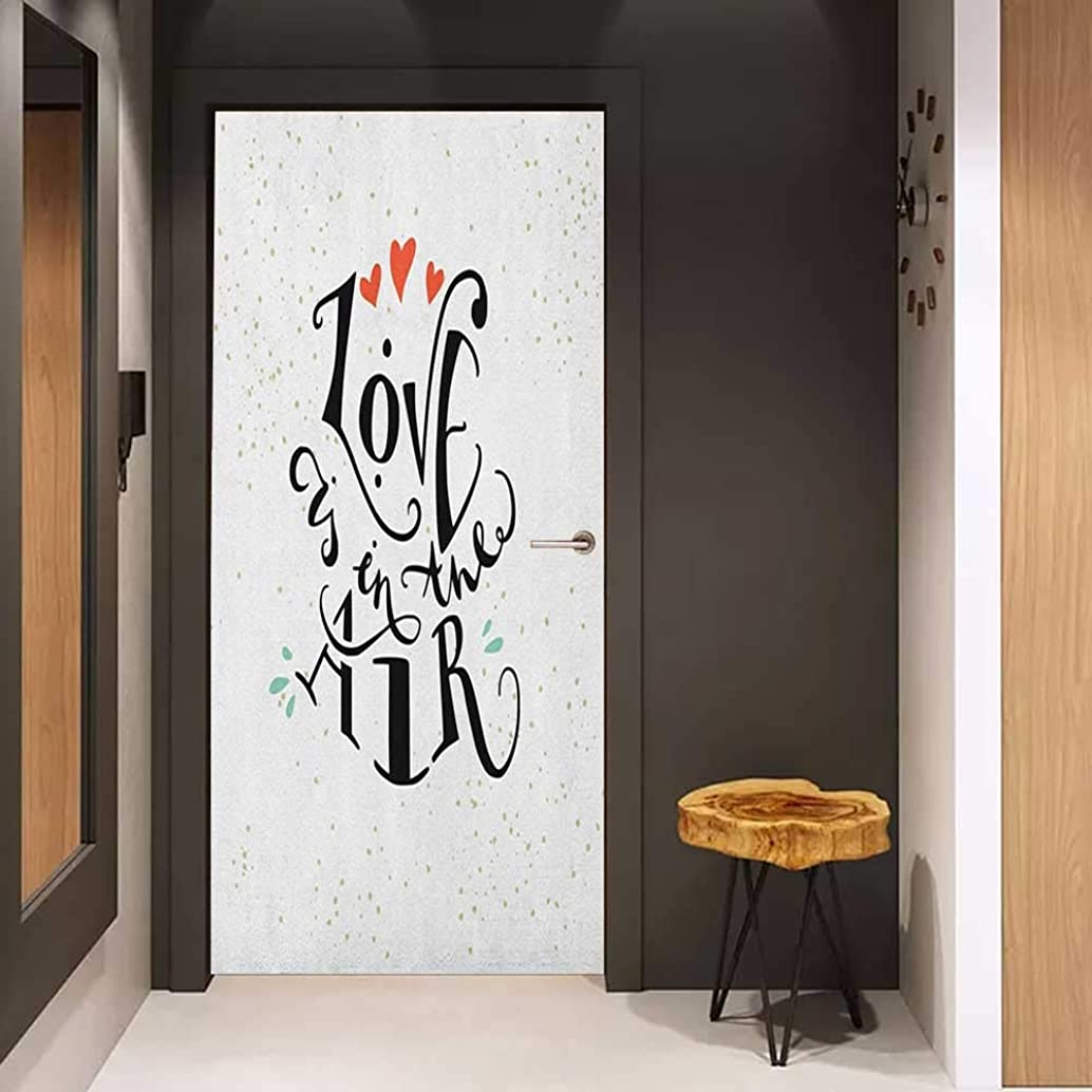 Onefzc Self-Adhesive Wall Murals Love Love is in The Air Stylized Hand Lettering Inspirational Quote and Hearts Sticker Removable Door Decal W35.4 x H78.7 Black Vermilion Green