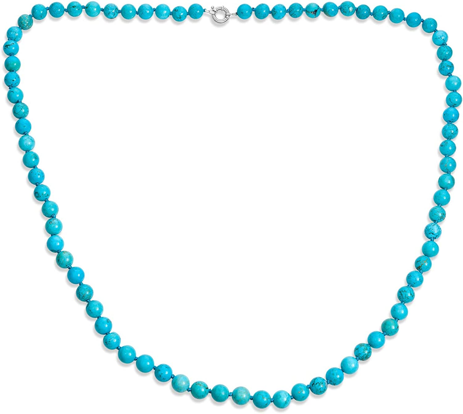 Hand Knotted Fashionable 10MM Today's only Round Ball Bead Stabilized Strand T Blue Green