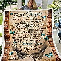 レタープリントキルトエアメールブランケット夫のための妻ブランケットポジティブ励ましと愛の妻フランネルブランケットバレンタインデーギフト,D,150*200