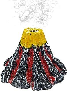 Abnaok Aquarium Volcano with Air Stone Bubbler, Realistic Fish Tank Volcano Ornaments Bubble Maker for More Oxygen Aquariu...