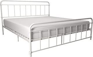 DHP Winston Metal Bed Frame, Multifunctional Piece with Adjustable Heights for Under Bed Storage, White - King