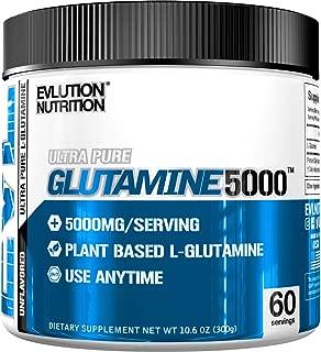 Evlution Nutrition L-Glutamine 5000, 5g Pure L Glutamine in Each Serving, Plant Based, Vegan, Gluten-Free, Unflavored Powder (60 Servings)