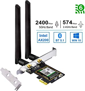 OKN WiFi 6 AX200 PCIE WiFi Card 2974Mbps with Bluetooth 5.1, 802.11AX Dual Band 5GHz/2.4GHz Wireless PCIe Adapter for PC Desktop,Support Windows 10 64bit/ Linux