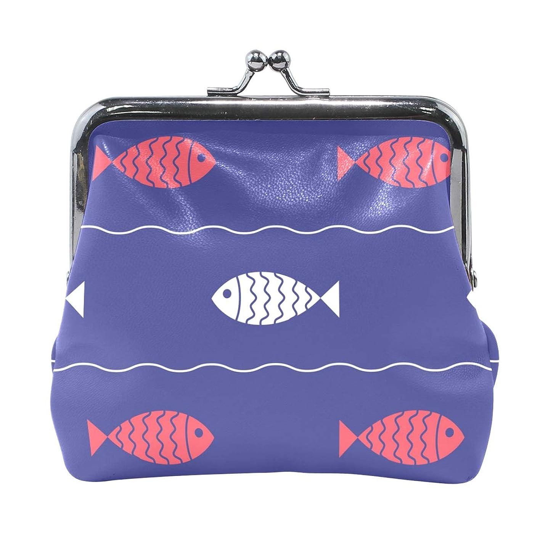 不承認航海の豆腐がま口 財布 口金 小銭入れ ポーチ 魚 海 波紋 ANNSIN バッグ かわいい 高級レザー レディース プレゼント ほど良いサイズ