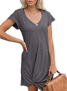 Women's Casual Short Sleeve V Neck Front Knot Twist Tie T Shirt Dress