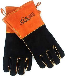 CLS 耐熱グローブ 革 手袋 キャンプ BBQ 焚き火 耐火 火傷防止 (ブラック)