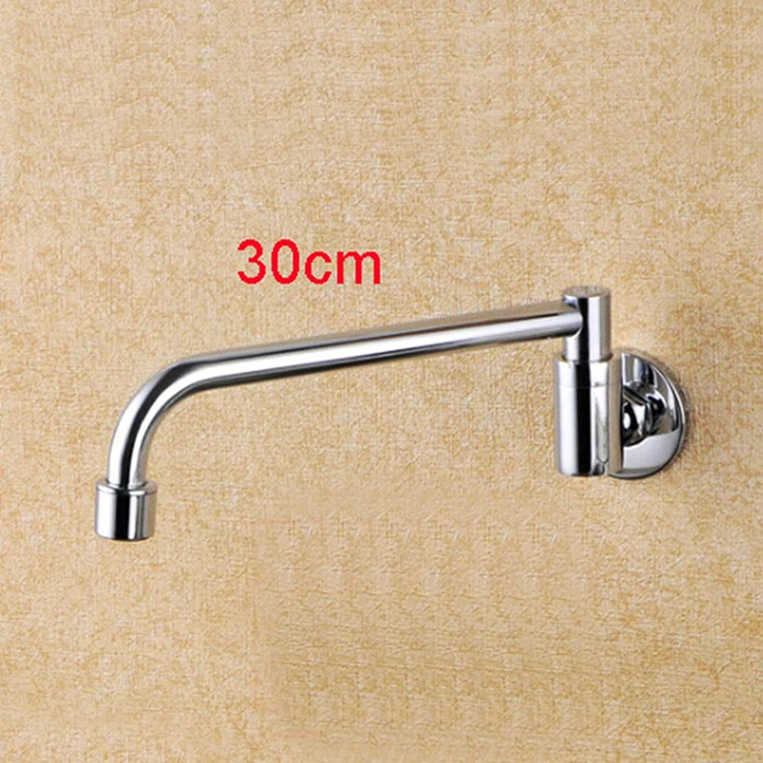 FZHLR Luxury Brass Material Silver color 15-30Cm Spout of Wall Mounted redate Switch Cold Water Kitchen Sink Faucet,30Cm
