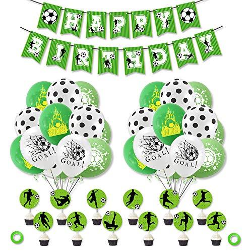 smileh Fussball Deko Geburtstag Fußball Luftballons Alles Gute Zum Geburtstag Banner Kuchendeko Tortentopper für Kinder Jungen Fußballfan Geburtstagsfeier
