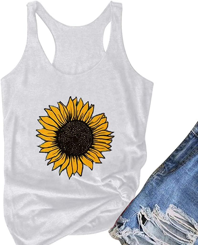 Aukbays Summer Tops for Women Casual Short Sleeve Loose Fit Sunflower Graphic Tees Vintage Shirts Blouses