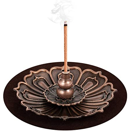 Bonze Stick Incense Burner for Stick//Coil//Cone Incense with Ash Catcher Accmor Brass Incense Holder