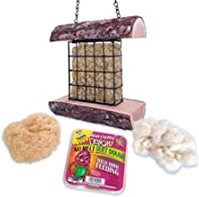 Mac's Suet Wild Bird Feeder, All Natural Wood, Made in The USA - Includes Nesting Material and Suet Cake
