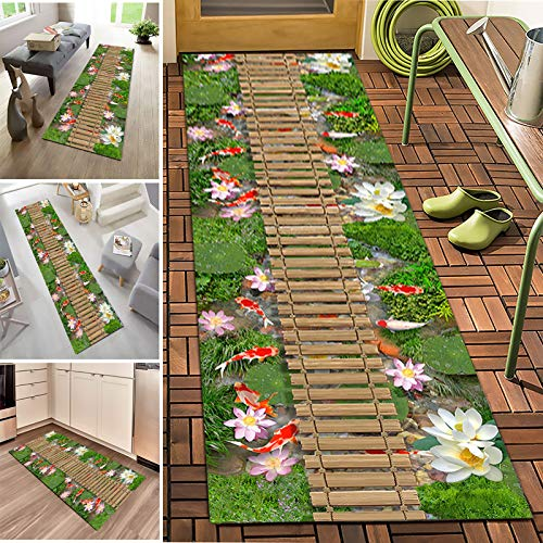 Runner Rugs Modern Natural Scenery Non-slip Water Absorption Carpet Corridor Entrance Rug,Long Washable Carpet,Crystal Velvet Fabric,7mm Thick,Length Can Be Customized(Size:1.2×4m)