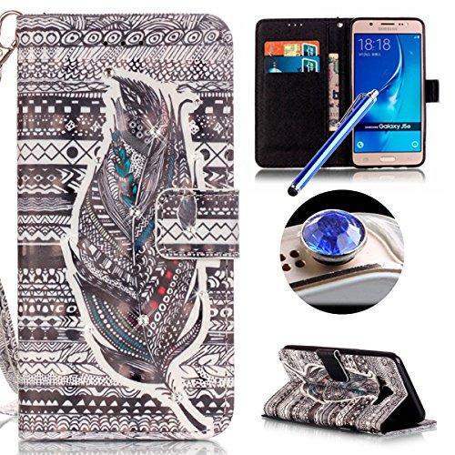 Samsung Galaxy J5(2016) Housse Coque de Téléphone, Etsue Cute Mode Colorful Design Flip Housse PU Cuir Coque Stand Housse de Protection pour Samsung Galaxy J5(2016),Coque est Bookstyle Folio Motif [Plume] et Cristal Cloutés pour Samsung Galaxy J5(2016) Joindre 1 x Corde + 1 x Bleu stylet + 1 x Bling poussière plug (couleurs aléatoires)