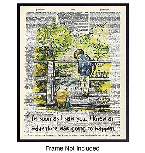 Winnie the Pooh Quote Upcycled Dictionary Art - A. A. Milne Vintage Wall Art Print, Poster - Home Decor Room Decorations for Nursery or Kids Room - Gift for Girls, Boys, Moms, Baby Shower