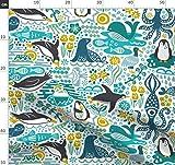 Pinguin, Arktisch, Wal, Tintenfisch, Seehund, Senf Stoffe -