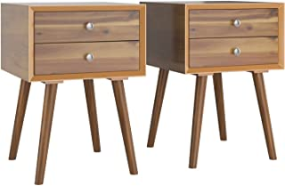 Giantex End Table W/Drawers and Storage Wooden...