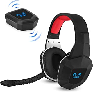 HUHD PS4 Wireless Game Headset 2.4GHz USB Optical Wireless Gaming Headphones with 7.1 Surround Sound for Playstation 4 PC MAC Wired Stereo Gaming Headset for Xbox one Over Ear