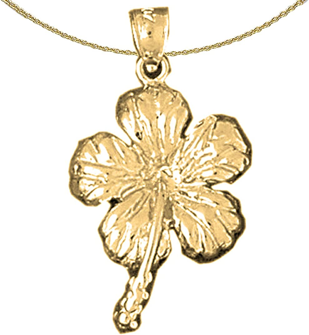 Jewels sale Obsession 14K Yellow Gold Pendant Flower 40% OFF Cheap Sale 18 with Hibiscus