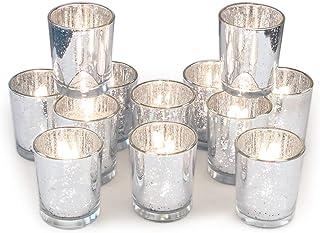 Candle Holder Tealight Holder 14cm from Glazed Porcelain White-Silver craftsmen