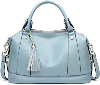 XFCH-AQ Fringe First Layer Leather Handbag Ladies Bag Messenger Leather Handbag Shoulder Bag Unique Bag (Color : Light blue)
