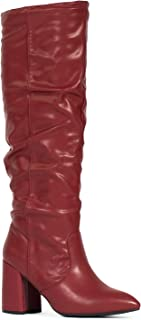 RF ROOM OF FASHION Women's Stacked Heel Slouchy Knee High Boots