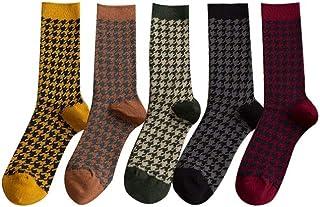 socks, Cinco pares de calcetines de tubo para mujer, diseño de pata de gallo, para otoño e invierno, con personalidad, color B