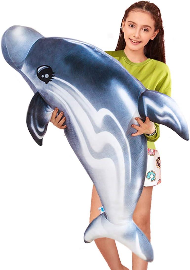 Jumb Gray Dolphin Body Pillow Elegant Plush Lifelike Bottlenose D free 34.6''