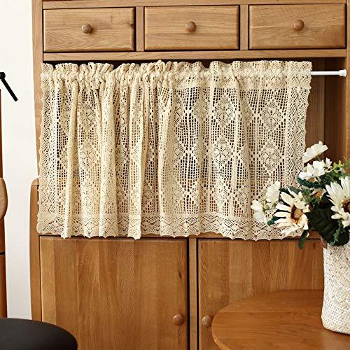 Cafe Curtains Rideau Brise-bise Demi Rideau Placard Beige Coton Et Lin Rideau Court Chambre Pastorale Petit Rideau de Fenêtre Rideau de Café
