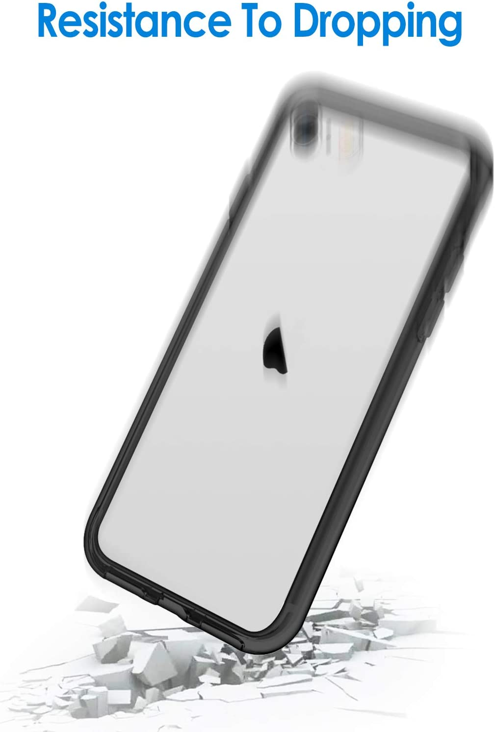 JETech Case Compatible with iPhone 8, iPhone 7, iPhone SE 2020, 4.7-Inch, Shockproof Bumper Cover, Anti-Scratch Clear Back, Dark Grey