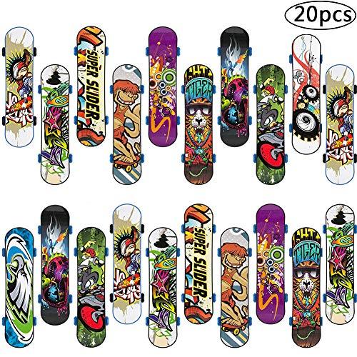 BETOY Skateboard Finger, 20pcs Mini Skate Board Professionale Mini Dito da Skateboard per Bambini Compleanno, Regali di Natale, Regali, Premi per Lezioni Scolastiche(Colore Casuale)