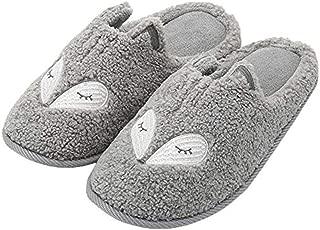 Womens House Slippers Memory Foam, Cute Plush Fox Animal Slippers, Silent and Non-Slip,Gray,L